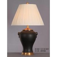 Lampe à Poser en Porcelaine Orientale Chinoise Noir Mat