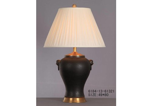 Fine Asianliving Chinese Tafellamp Porselein Zwart Mat