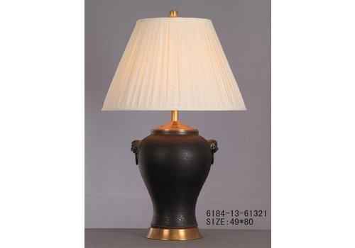 Fine Asianliving Oosterse Tafellamp Porselein Zwart Mat