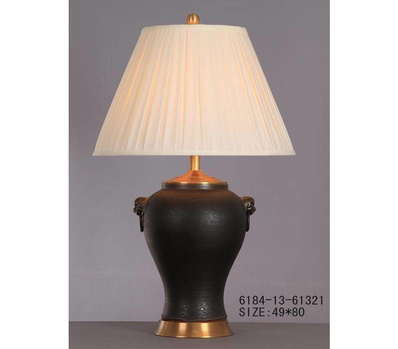 Chinesische Tischlampe Porzellan mit Schirm Mattschwarz