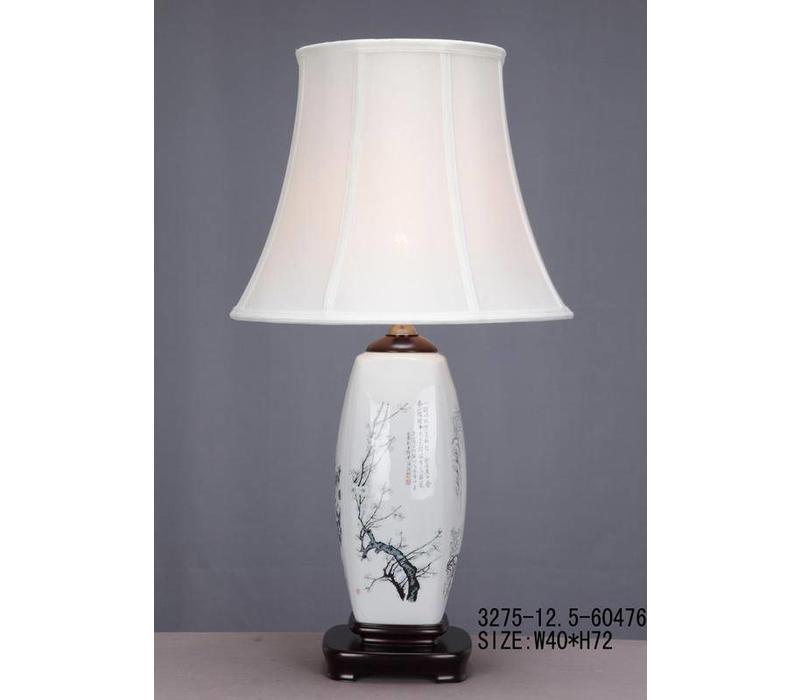 Fine Asianliving Oosterse Tafellamp Porselein Witte Bloesemtakken