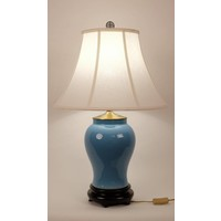 Fine Asianliving Oriental Table Lamp Porcelain Glassy Blue