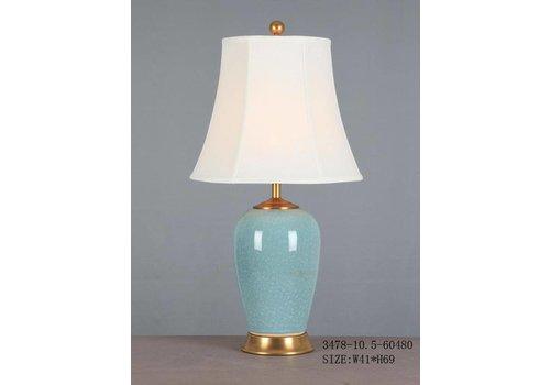 Fine Asianliving Chinese Tafellamp Porselein Glassy Light Blue