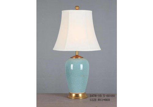 Fine Asianliving Fine Asianliving Oriental Table Lamp Porcelain Glassy Light Blue