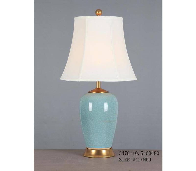 Oriental Table Lamp Porcelain Glassy Light Blue