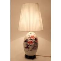 Chinesische Tischlampe Porzellan mit Lampenschirm Orientalische Tischleuchte Keramik