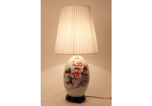 Fine Asianliving Oosterse Tafellamp Porselein Wit met Bloemen en Landschap