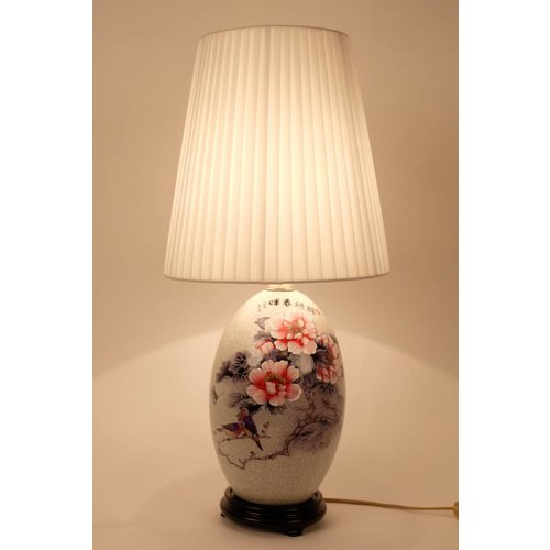 Fine Asianliving Oriental Porcelain Table Lamp White White Flowers and Landscape