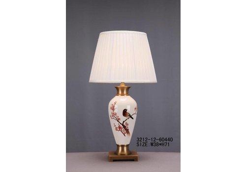 Fine Asianliving Chinese Tafellamp Porselein Wit met Bloementak en Vogel