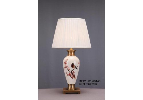 Fine Asianliving Oosterse Tafellamp Porselein Wit met Bloementak en Vogel