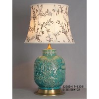 Chinese Tafellamp Porselein Turquoise Dorp