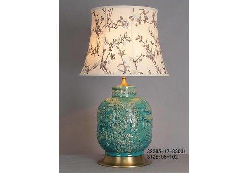 Fine Asianliving Lámpara de Mesa de Porcelana China Turquesa Peublo