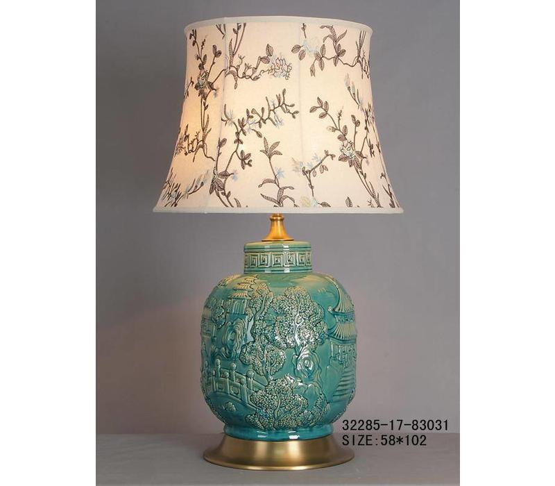 Lampe de Table en Porcelaine Chinoise Turquoise Village
