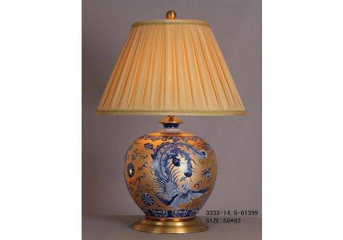 Fine Asianliving Fine Asianliving Oosterse Tafellamp Porselein Bladgoud Blauwe Phoenix