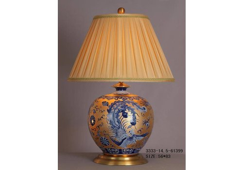 Fine Asianliving Fine Asianliving Oriental Table lamp Porcelain Gold White Blue Phoenix