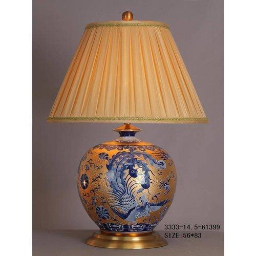 Fine Asianliving Oriental Table lamp Porcelain Gold White Blue Phoenix