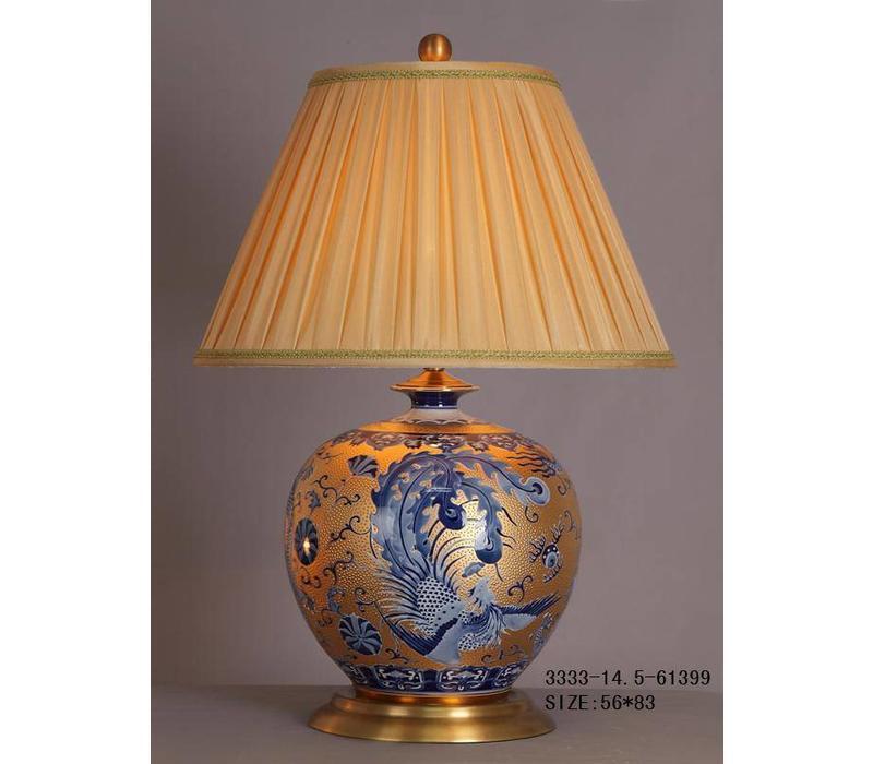 Fine Asianliving Oosterse Tafellamp Porselein Bladgoud Blauwe Phoenix