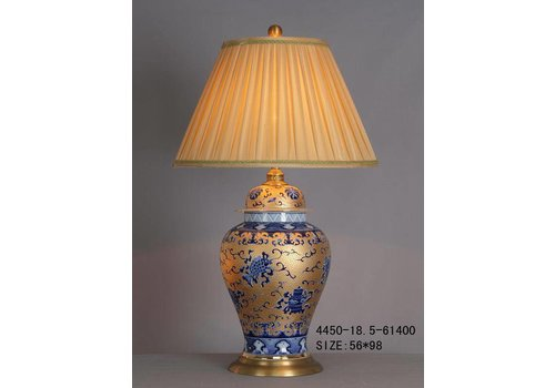 Fine Asianliving Fine Asianliving Oriental Table Lamp Porcelain Gold White Blue Pattern