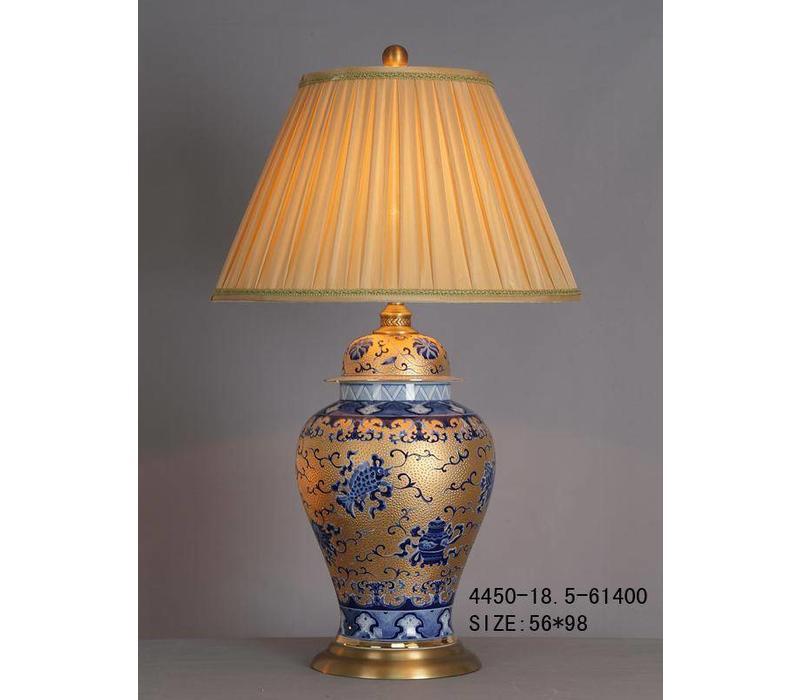 Fine Asianliving Oriental Table Lamp Porcelain Gold White Blue Pattern