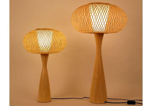 Fine Asianliving Oriental Bamboo Table Lamp Thin