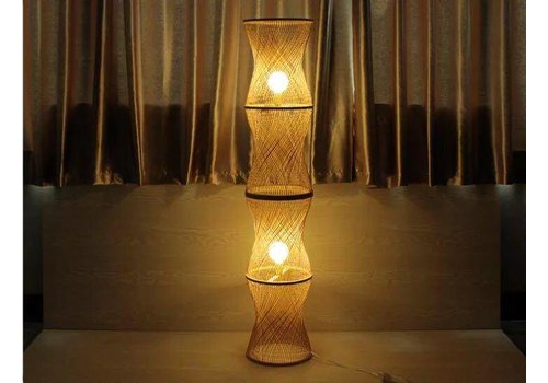 Fine Asianliving Bamboo braided floor lamp 4 layers Large