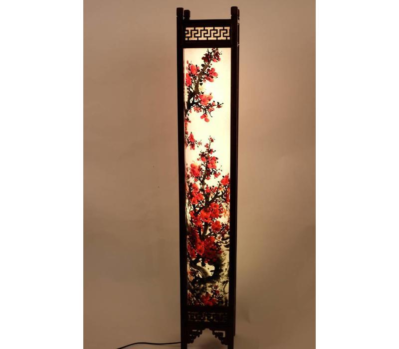 Chinese Vloerlamp Rijstpapier Handbeschilderde Sakura