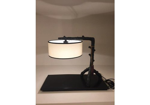 Fine Asianliving Chinese table lamp Metal black and beige