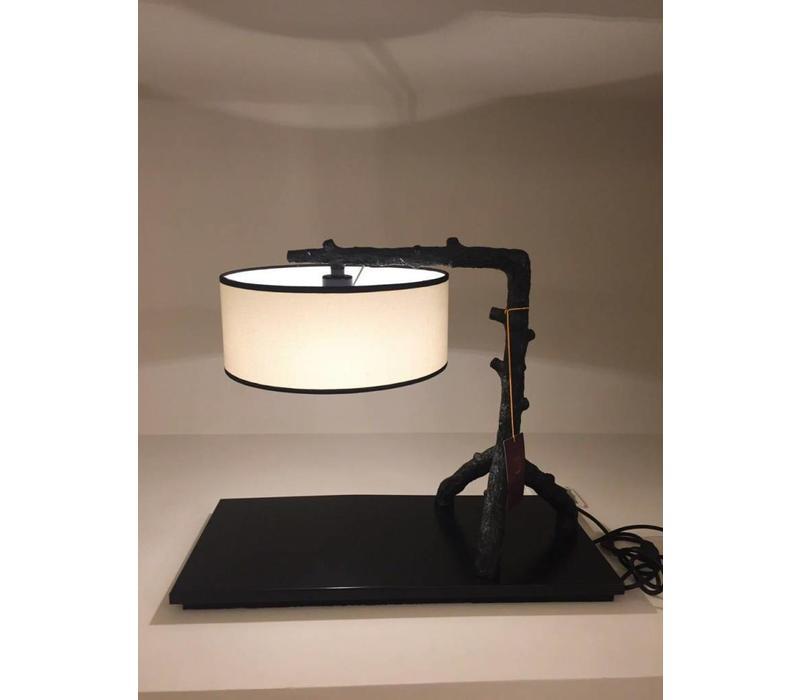 Chinesische Tischlampe Metall Schwarz und Beige