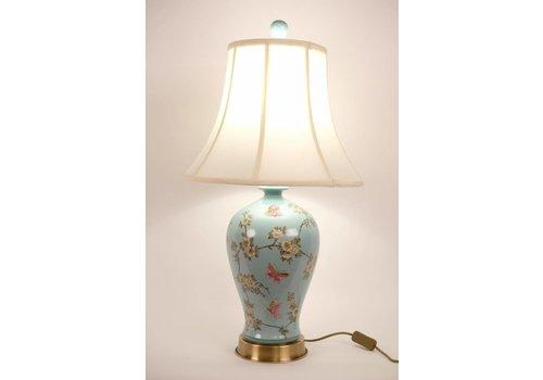 Fine Asianliving Chinese Tafellamp Porselein Handbeschilderd Turquoise