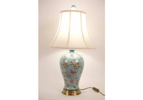 Fine Asianliving Fine Asianlvivinb Lampe de table chinoise Porcelaine peinte à la main Turquoise