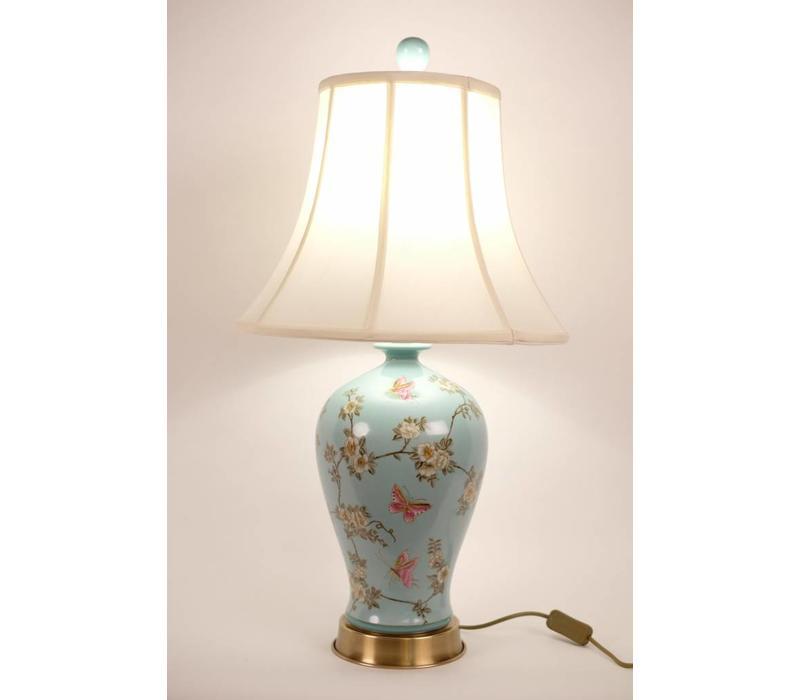 Chinesische Tischlampe Porzellan mit Schirm Handbemalt Türkis