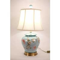 Chinese Table Lamp Porcelain Hand-Painted Gingerpot Turquoise