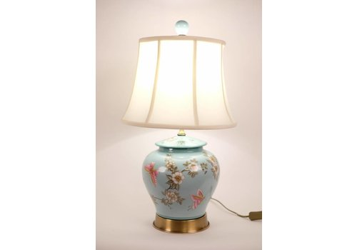 Fine Asianliving Chinese Table Lamp Porcelain Hand-Painted Gingerpot Turquoise