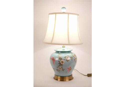 Fine Asianliving Chinese Tafellamp Porselein Handbeschilderd Gemberpot Turquoise