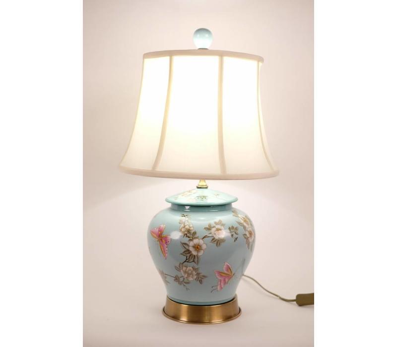 Fine Asianliving Chinese tafellamp Porselein Handgeschilderd Gemberpot Turquoise
