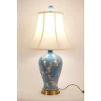 Chinesische Tischlampe Porzellan mit Schirm Handbemalt Blau