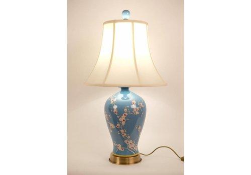 Fine Asianliving Fine Asianliving Oosterse Tafellamp Porselein Handbeschilderde Sakura Blauw
