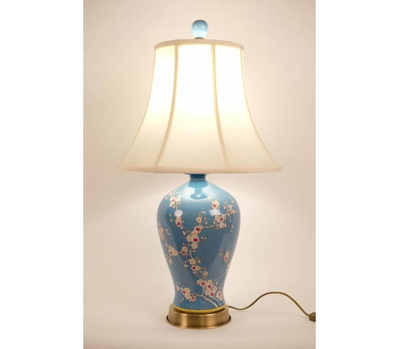 Lampe de table chinoise en porcelaine peinte à la main bleu