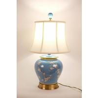 Fine Asianliving Oosterse tafellamp Porselein Handbeschilderd Gemberpot Blauw