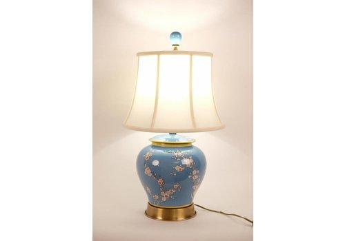 Fine Asianliving Chinese Tafellamp Porselein Handbeschilderd Gemberpot Blauw