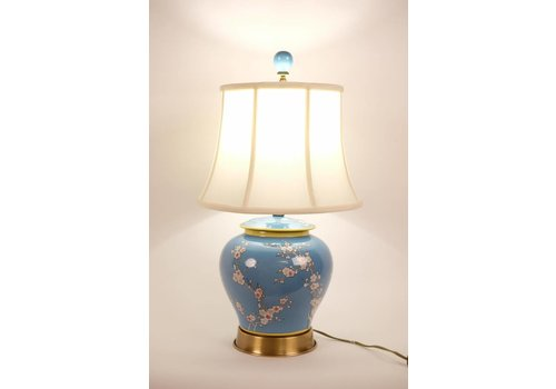 Fine Asianliving Tafellamp Porselein Handbeschilderd Gemberpot Blauw