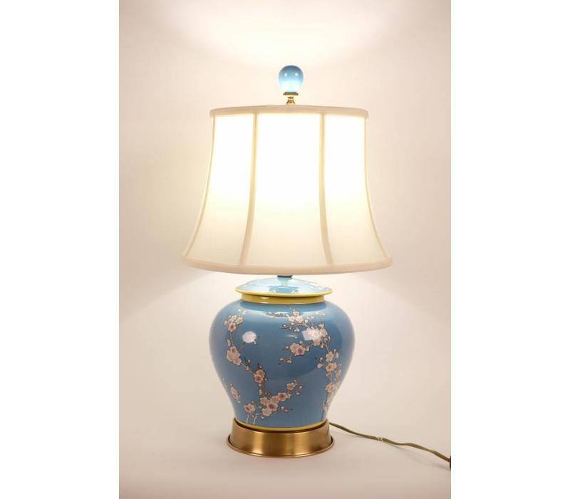 Chinese Tafellamp Porselein Handbeschilderd Gemberpot Blauw
