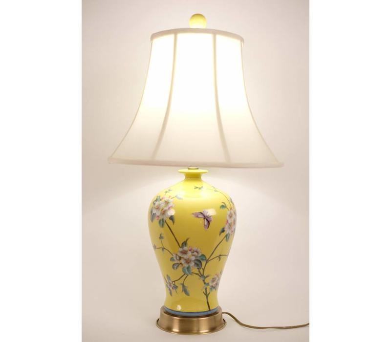 Chinese Tafellamp Porselein Handbeschilderd Geel
