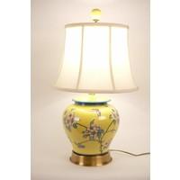 Fine Asianliving Oosterse Tafellamp Porselein handbeschilderde Bloemen Geel