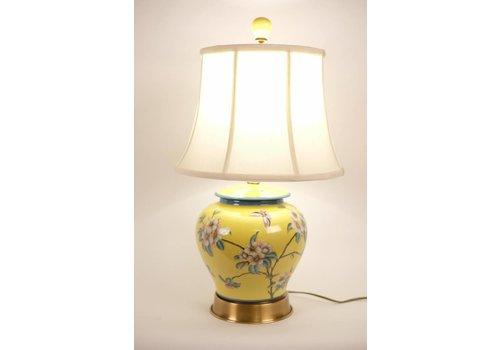 Fine Asianliving Fine Asianliving Oosterse Tafellamp Porselein handbeschilderde Bloemen Geel
