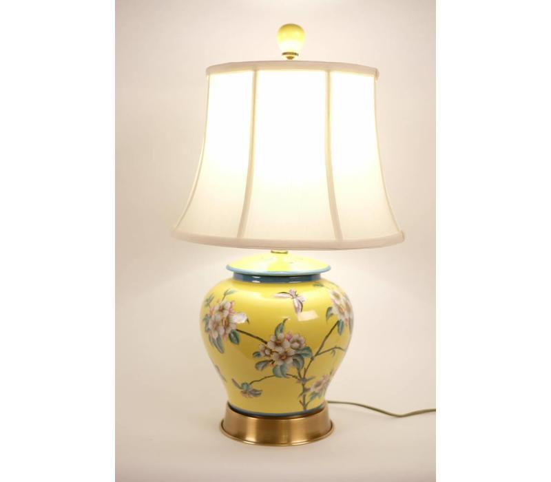Fine Asianliving Lampe de table Porcelaine Peint à la main Pot de gingembre Jaune
