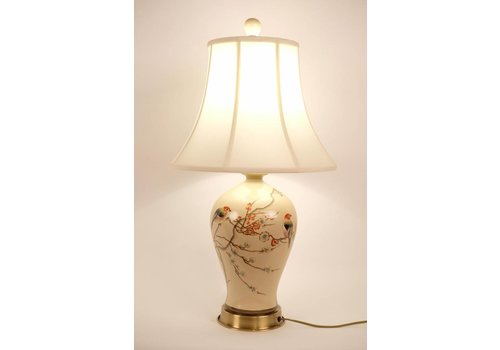 Fine Asianliving Chinese Table Lamp Porcelain Handpainted Creme