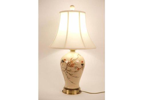 Fine Asianliving Fine Asianliving Oosterse Tafellamp Porselein Handbeschilderd Creme