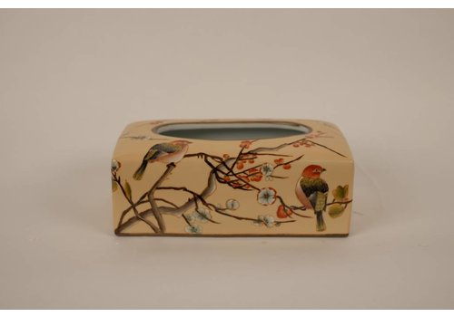 Fine Asianliving Chinese Tissue Box Holder Porcelain Hand-painted Creme