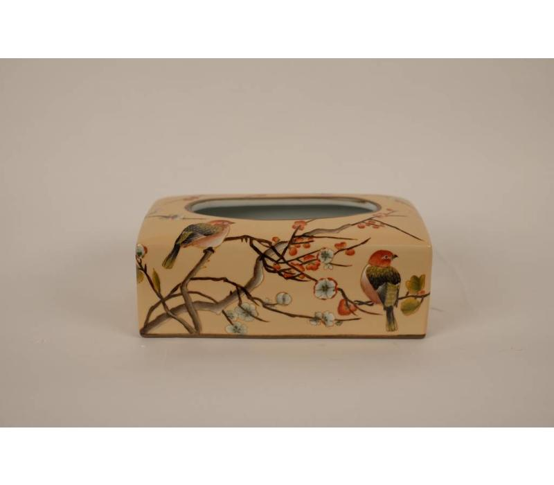 Chinese Tissue Box Porcelain Handpainted Creme